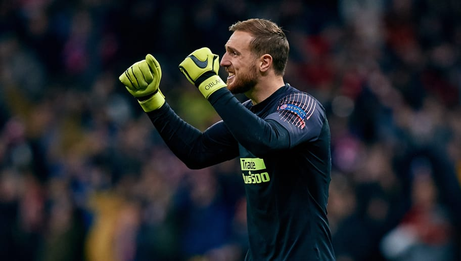 MADRID, SPAIN - NOVEMBER 06: Jan Oblak of Atletico de Madrid celebrates a goal during the Group A match of the UEFA Champions League between Club Atletico de Madrid and Borussia Dortmund at Estadio Wanda Metropolitano on November 6, 2018 in Madrid, Spain. (Photo by David Aliaga/MB Media/Getty Images)