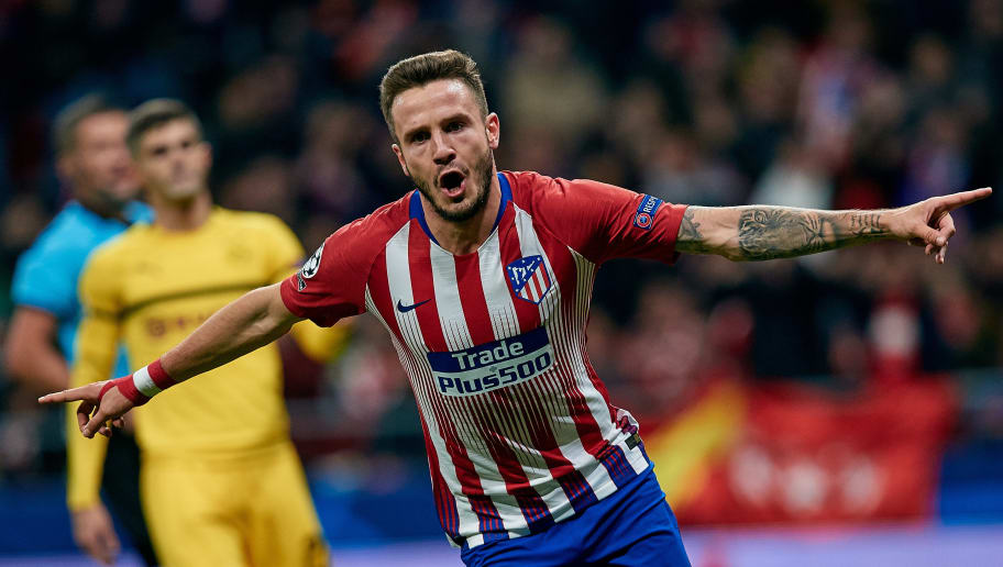 MADRID, SPAIN - NOVEMBER 06: Saul Niguez of Atletico de Madrid celebrates a goal after scoring during the Group A match of the UEFA Champions League between Club Atletico de Madrid and Borussia Dortmund at Estadio Wanda Metropolitano on November 6, 2018 in Madrid, Spain. (Photo by David Aliaga/MB Media/Getty Images)