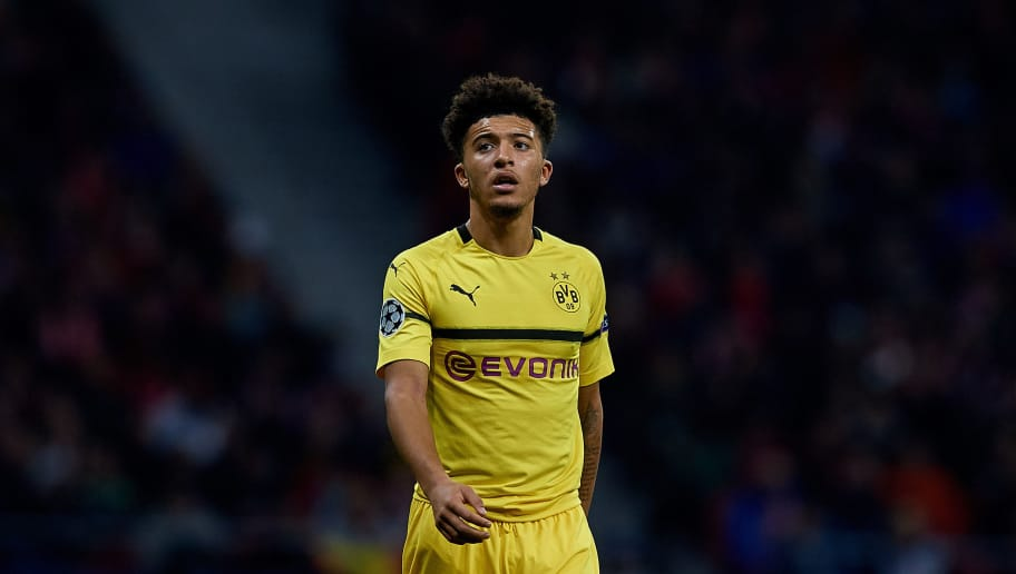 MADRID, SPAIN - NOVEMBER 06: Jadon Sancho of Borussia Dortmund looks on during the Group A match of the UEFA Champions League between Club Atletico de Madrid and Borussia Dortmund at Estadio Wanda Metropolitano on November 6, 2018 in Madrid, Spain. (Photo by David Aliaga/MB Media/Getty Images)