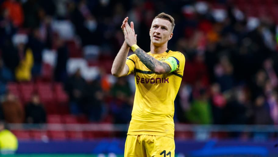 MADRID, SPAIN - NOVEMBER 06: Marco Reus of Borussia Dortmund gestures during the Group A match of the UEFA Champions League between Club Atletico de Madrid and Borussia Dortmund at Estadio Wanda Metropolitano on November 6, 2018 in Madrid, Spain. (Photo by TF-Images/Getty Images)