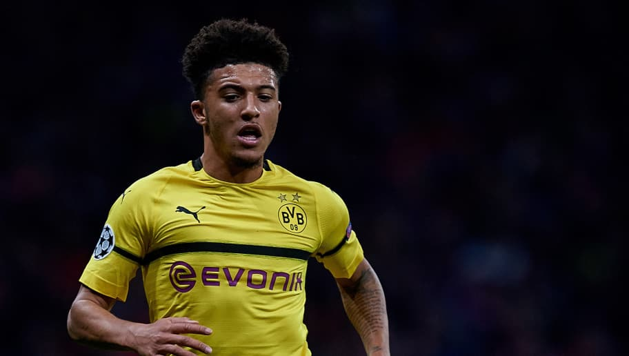 MADRID, SPAIN - NOVEMBER 06: Jadon Sancho of Borussia Dortmund in action during the Group A match of the UEFA Champions League between Club Atletico de Madrid and Borussia Dortmund at Estadio Wanda Metropolitano on November 6, 2018 in Madrid, Spain. (Photo by David Aliaga/MB Media/Getty Images)