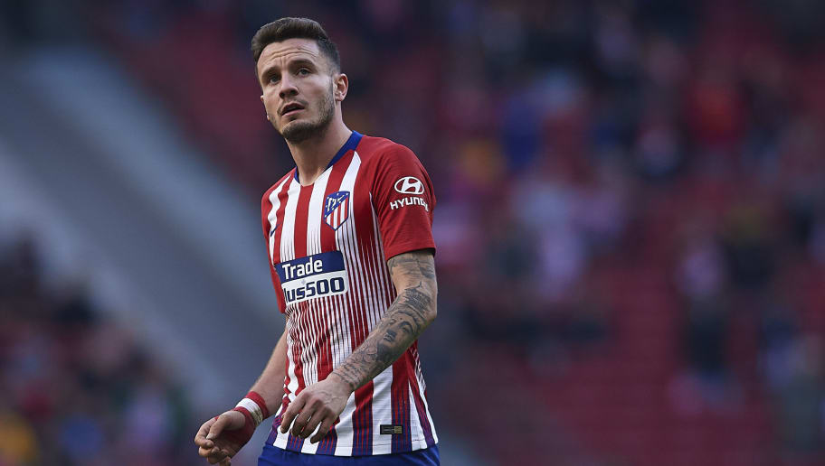 MADRID, SPAIN - DECEMBER 08: Saul Niguez of Atletico de Madrid looks on during the La Liga match between  Club Atletico de Madrid and Deportivo Alaves at Wanda Metropolitano on December 08, 2018 in Madrid, Spain. (Photo by Quality Sport Images/Getty Images)