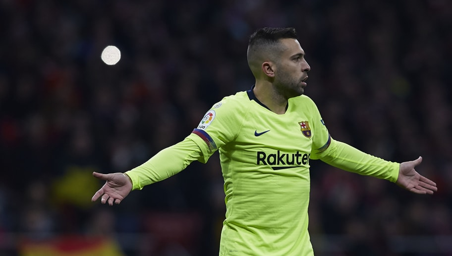 MADRID, SPAIN - NOVEMBER 24:  Jordi Alba of FC Barcelona reacts during the La Liga match between Club Atletico de Madrid and FC Barcelona at Wanda Metropolitano on November 24, 2018 in Madrid, Spain.  (Photo by Quality Sport Images/Getty Images)