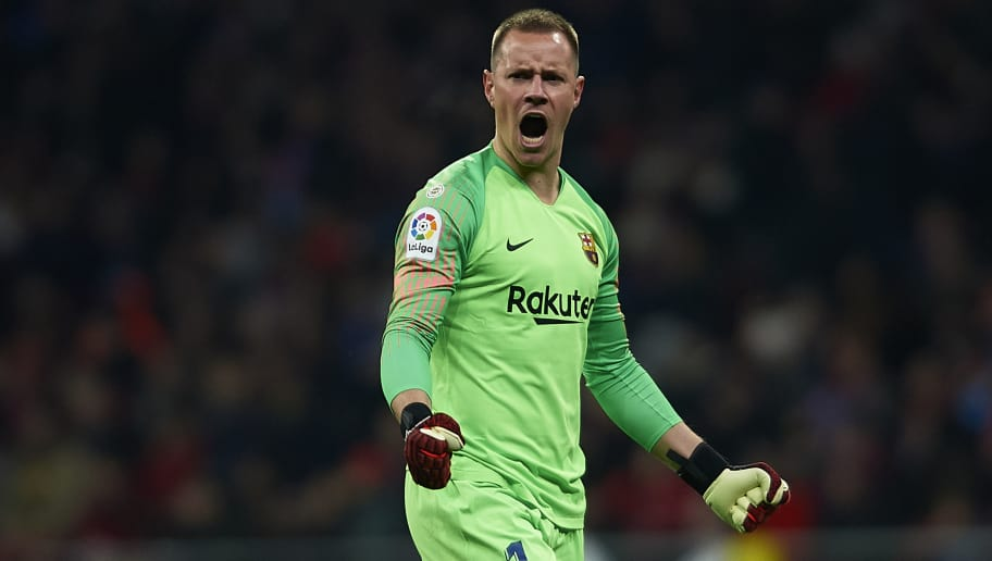 MADRID, SPAIN - NOVEMBER 24:  Ter Stegen of FC Barcelona celebrates during the La Liga match between Club Atletico de Madrid and FC Barcelona at Wanda Metropolitano on November 24, 2018 in Madrid, Spain.  (Photo by Quality Sport Images/Getty Images)