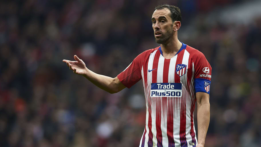 MADRID, SPAIN - DECEMBER 22: Diego Godin of Atletico de Madrid reacts during the La Liga match between  Club Atletico de Madrid and RCD Espanyol at Wanda Metropolitano on December 22, 2018 in Madrid, Spain. (Photo by Quality Sport Images/Getty Images)