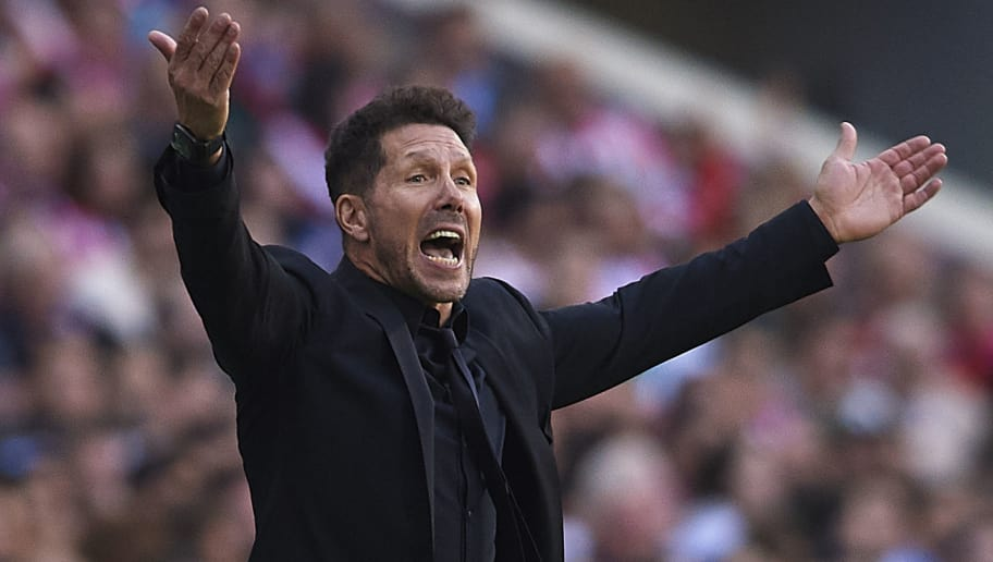 MADRID, SPAIN - OCTOBER 07:  Diego Pablo Simeone, Manager of Atletico de Madrid reacts during the La Liga match between Club Atletico de Madrid and Real Betis Balompie at Wanda Metropolitano on October 7, 2018 in Madrid, Spain.  (Photo by Quality Sport Images/Getty Images)