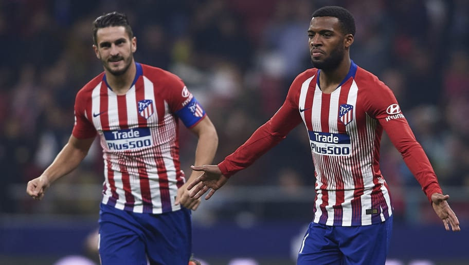 MADRID, SPAIN - DECEMBER 05: Thomas Lemar of Atletico de Madrid celebrates after scoring his team's first goal during the Spanish Copa del Rey second leg match between Atletico de Madrid and Sant Andreu at Estadio Wanda Metropolitano on December 05, 2018 in Madrid, Spain. (Photo by Quality Sport Images/Getty Images)