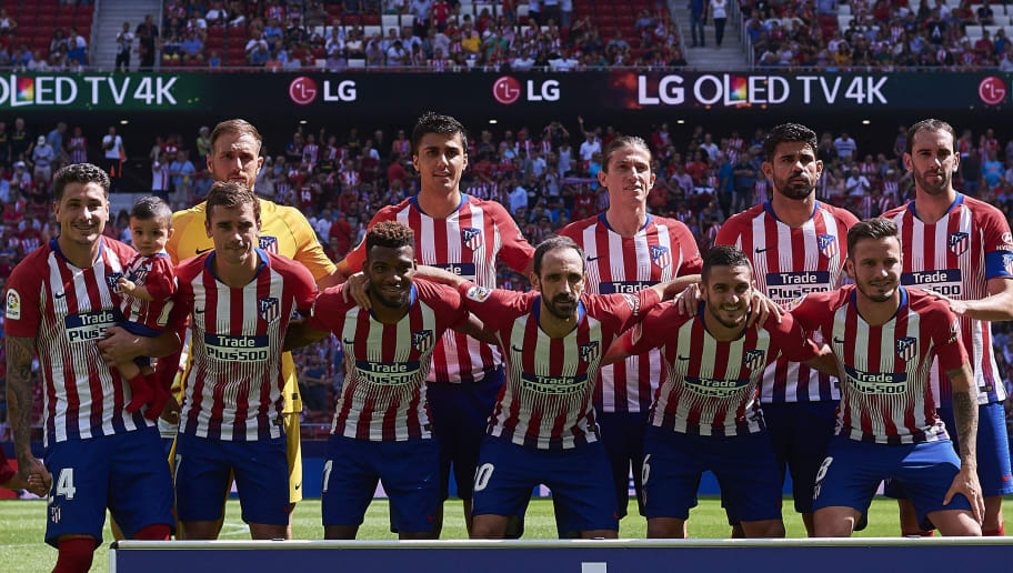 MADRID, SPAIN - SEPTEMBER 15:  Players of Atletico de Madrid line up for a team photo prior to the La Liga match between Club Atletico de Madrid and SD Eibar at Wanda Metropolitano on September 15, 2018 in Madrid, Spain. (Photo by Quality Sport Images/Getty Images)