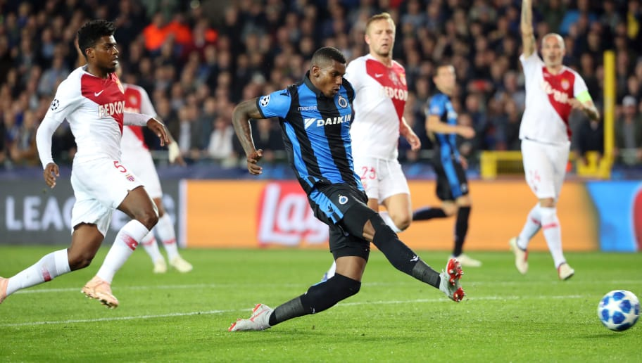BRUGGE, BELGIUM - OCTOBER 24: Wesley Moraes scores a cancelled goal during the Group A match of the UEFA Champions League between Club Brugge and AS Monaco at Jan Breydel Stadium on October 24, 2018 in Brugge, Belgium. (Photo by Vincent Van Doornick/Isosport/MB Media/Getty Images)