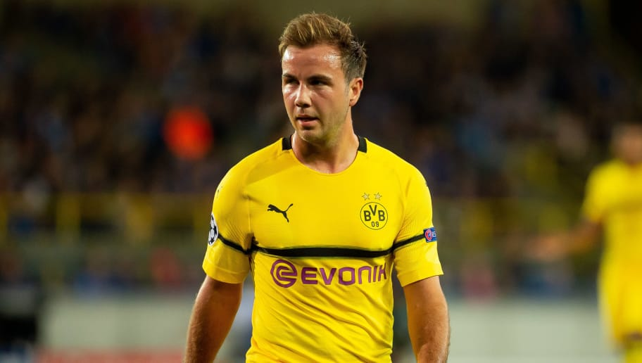 BRUGGE, BELGIUM - SEPTEMBER 18: Mario Goetze of Borussia Dortmund looks on during the UEFA Champions League Group A match between Club Brugge and Borussia Dortmund at Jan Breydel Stadium on September 18, 2018 in Brugge, Belgium. (Photo by TF-Images/Getty Images)