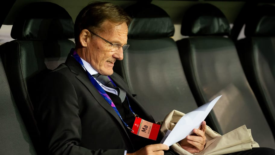 BRUGGE, BELGIUM - SEPTEMBER 18: CEO Hans-Joachim Watzke of Borussia Dortmund looks on prior to the UEFA Champions League Group A match between Club Brugge and Borussia Dortmund at Jan Breydel Stadium on September 18, 2018 in Brugge, Belgium. (Photo by TF-Images/Getty Images)