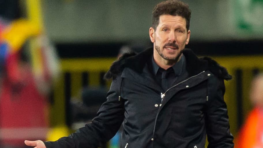BRUGGE, BELGIUM - DECEMBER 11: Head coach Diego Simeone of Atletico Madrid looks on during the UEFA Champions League Group A match between Club Brugge and Club Atletico de Madrid at Jan Breydel Stadium on December 11, 2018 in Brugge, Belgium. (Photo by TF-Images/TF-Images via Getty Images)