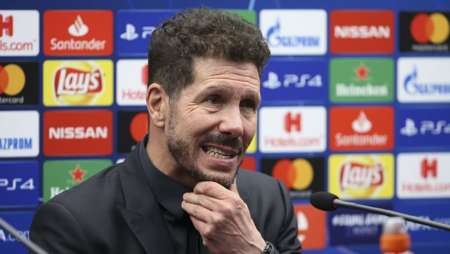 BRUGGE, BELGIUM - DECEMBER 11: Coach of Atletico Madrid Diego Simeone answers to the media during the press conference following the UEFA Champions League Group A match between Club Brugge KV and Club Atletico de Madrid at Jan Breydel Stadium on December 11, 2018 in Brugge, Belgium. (Photo by Jean Catuffe/Getty Images)