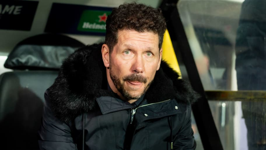 BRUGGE, BELGIUM - DECEMBER 11: Head coach Diego Simeone of Atletico Madrid looks on prior the UEFA Champions League Group A match between Club Brugge and Club Atletico de Madrid at Jan Breydel Stadium on December 11, 2018 in Brugge, Belgium. (Photo by TF-Images/TF-Images via Getty Images)