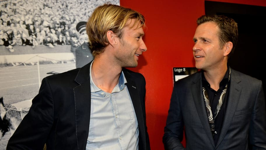 COLOGNE, GERMANY - JUNE 10:  Simon Rolfes and Oliver Bierhoff attend the 'Club Of Former National Players' meeting at RheinEnergieStadion on June 10, 2015 in Cologne, Germany.  (Photo by Sascha Steinbach/Bongarts/Getty Images)
