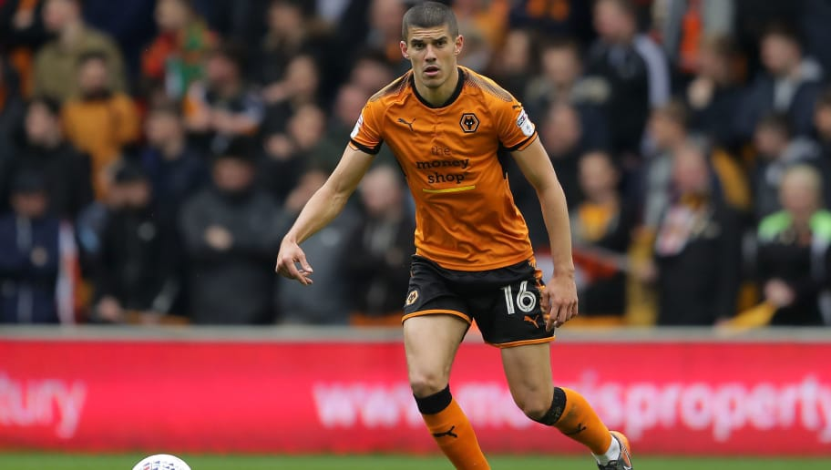WOLVERHAMPTON, ENGLAND - APRIL 28: Conor Coady of Wolverhampton Wanderers in action during the Sky Bet Championship match between Wolverhampton Wanderers and Sheffield Wednesday at Molineux on April 28, 2018 in Wolverhampton, England. (Photo by Richard Heathcote/Getty Images)