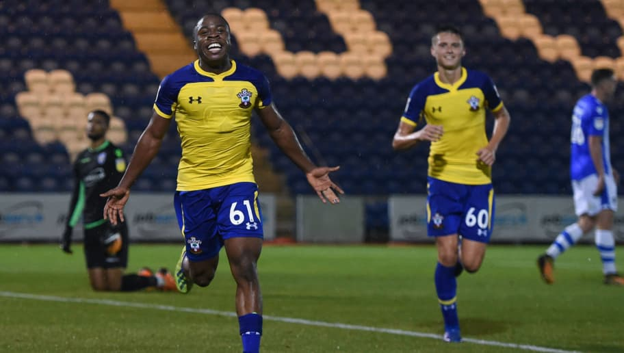 COLCHESTER, ENGLAND - SEPTEMBER 04:  Michael Obafemi of Southampton celebrates after scoring his team's second goal during the Checkatrade Trophy match between Colchester United and Southampton U21 at Colchester Community Stadium on September 4, 2018 in Colchester, England.  (Photo by Harriet Lander/Getty Images)