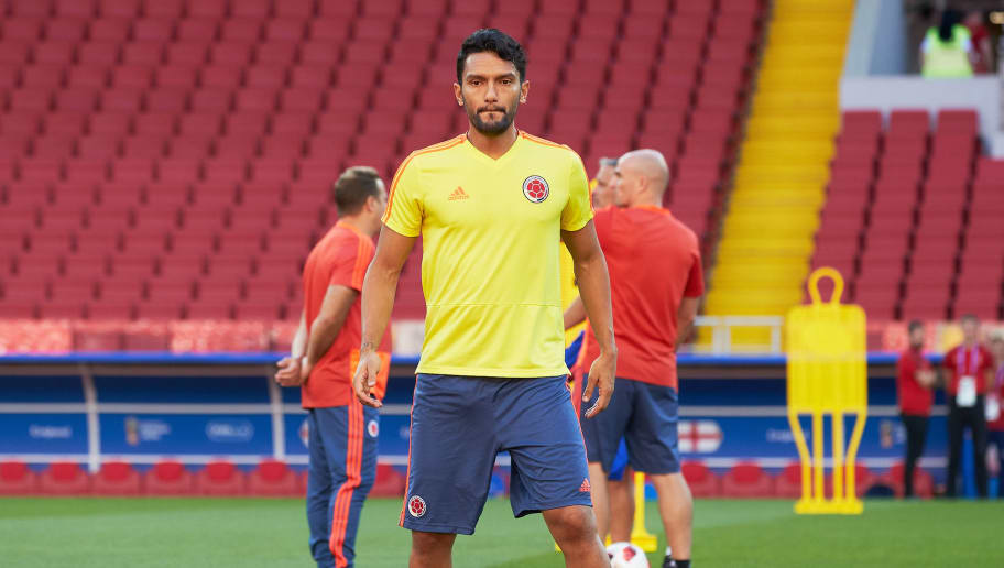 MOSCOW, RUSSIA - JULY 02: Abel Aguilar of Colombia during a training session at the FIFA World Cup at Spartak Stadium on July 2, 2018 in Moscow, Russia. (Photo by Oleg Nikishin/Getty Images)