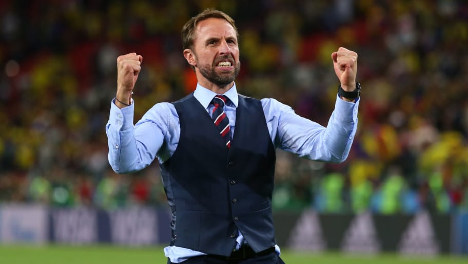MOSCOW, RUSSIA - JULY 03:    Gareth Southgate head coach / manager of England celebrates his team's victory in a penalty shootout at the end of extra time during the 2018 FIFA World Cup Russia Round of 16 match between Colombia and England at Spartak Stadium on July 3, 2018 in Moscow, Russia. (Photo by Robbie Jay Barratt - AMA/Getty Images)