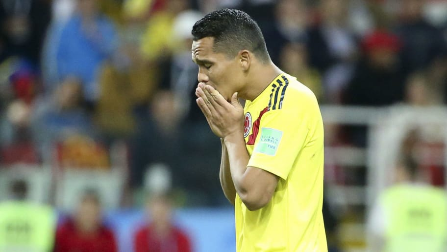 MOSCOW, RUSSIA - JULY 3: Carlos Bacca of Colombia is dejected for missing his penalty during the penalty shootout of the 2018 FIFA World Cup Russia Round of 16 match between Colombia and England at Spartak Stadium on July 3, 2018 in Moscow, Russia. (Photo by Jean Catuffe/Getty Images)
