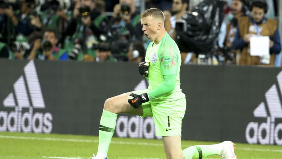 MOSCOW, RUSSIA - JULY 3: Goalkeeper of England Jordan Pickford celebrates stopping a penalty during the penalty shootout of the 2018 FIFA World Cup Russia Round of 16 match between Colombia and England at Spartak Stadium on July 3, 2018 in Moscow, Russia. (Photo by Jean Catuffe/Getty Images)