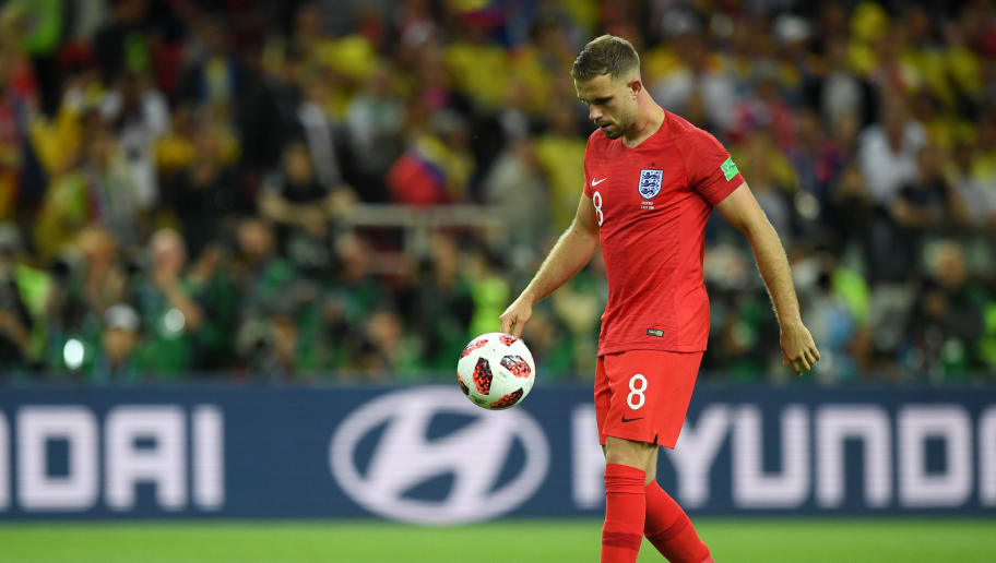 MOSCOW, RUSSIA - JULY 03:  Jordan Henderson of England looks dejected after missing his sides third in the penalty shoot out during the 2018 FIFA World Cup Russia Round of 16 match between Colombia and England at Spartak Stadium on July 3, 2018 in Moscow, Russia.  (Photo by Matthias Hangst/Getty Images)