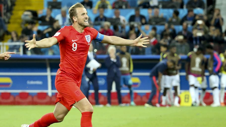 MOSCOW, RUSSIA - JULY 3: Harry Kane of England celebrates the victory after the penalty shootout of the 2018 FIFA World Cup Russia Round of 16 match between Colombia and England at Spartak Stadium on July 3, 2018 in Moscow, Russia. (Photo by Jean Catuffe/Getty Images)
