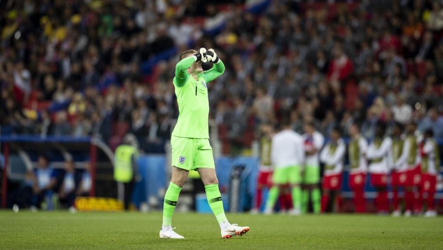 MOSCOW, RUSSIA - JULY 03:  Jordan Pickford of England reacts during the 2018 FIFA World Cup Russia Round of 16 match between Colombia and England at Spartak Stadium on July 3, 2018 in Moscow, Russia.  (Photo by Fred Lee/Getty Images)