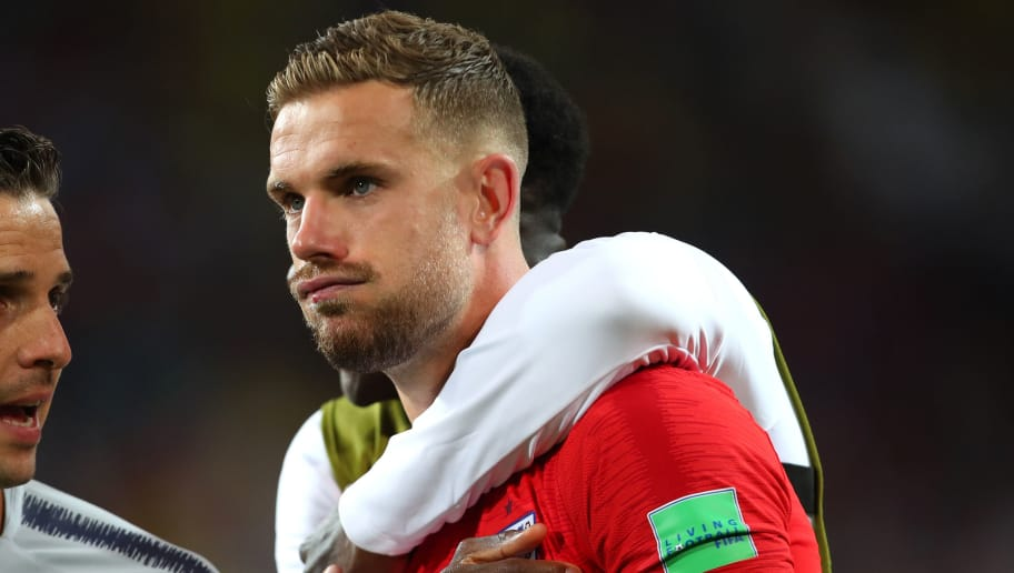 MOSCOW, RUSSIA - JULY 03:    Jordan Henderson of England reacts after his team's victory in a penalty shootout at the end of extra time during the 2018 FIFA World Cup Russia Round of 16 match between Colombia and England at Spartak Stadium on July 3, 2018 in Moscow, Russia. (Photo by Robbie Jay Barratt - AMA/Getty Images)