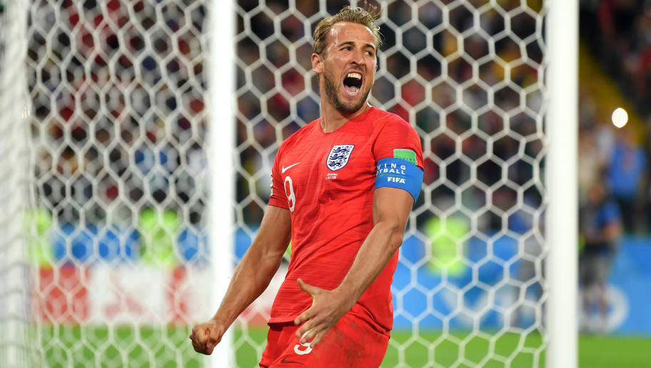 MOSCOW, RUSSIA - JULY 03:  Harry Kane of England celebrates after scoring his team's first goal during the 2018 FIFA World Cup Russia Round of 16 match between Colombia and England at Spartak Stadium on July 3, 2018 in Moscow, Russia.  (Photo by Dan Mullan/Getty Images)