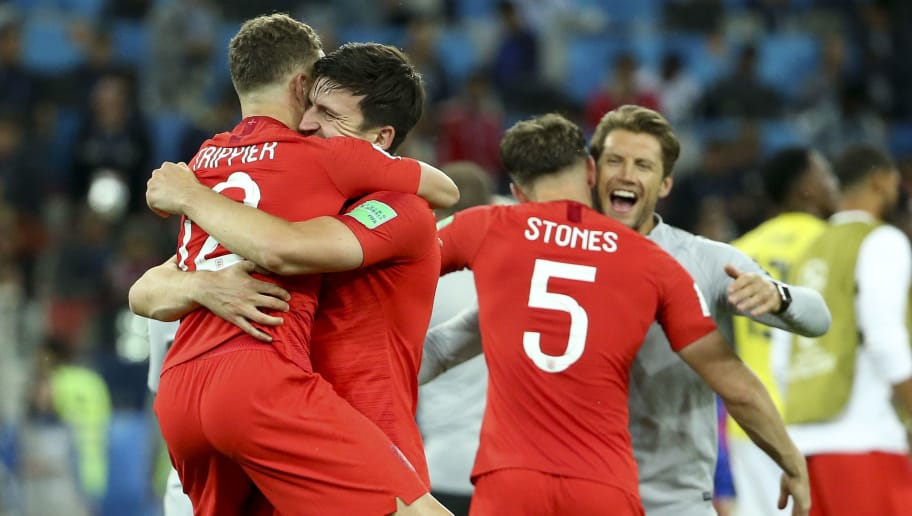 MOSCOW, RUSSIA - JULY 3: Kieran Trippier, Harry Maguire, John Stones of England celebrates the victory following the 2018 FIFA World Cup Russia Round of 16 match between Colombia and England at Spartak Stadium on July 3, 2018 in Moscow, Russia. (Photo by Jean Catuffe/Getty Images)