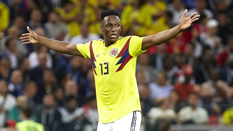 MOSCOW, RUSSIA - JULY 03:  Yerry Mina of Colombia reacts during the 2018 FIFA World Cup Russia Round of 16 match between Colombia and England at Spartak Stadium on July 3, 2018 in Moscow, Russia.  (Photo by Quality Sport Images/Getty Images)