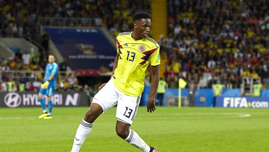MOSCOW, RUSSIA - JULY 03:  Yerry Mina of Colombia in action during the 2018 FIFA World Cup Russia Round of 16 match between Colombia and England at Spartak Stadium on July 3, 2018 in Moscow, Russia.  (Photo by Quality Sport Images/Getty Images)