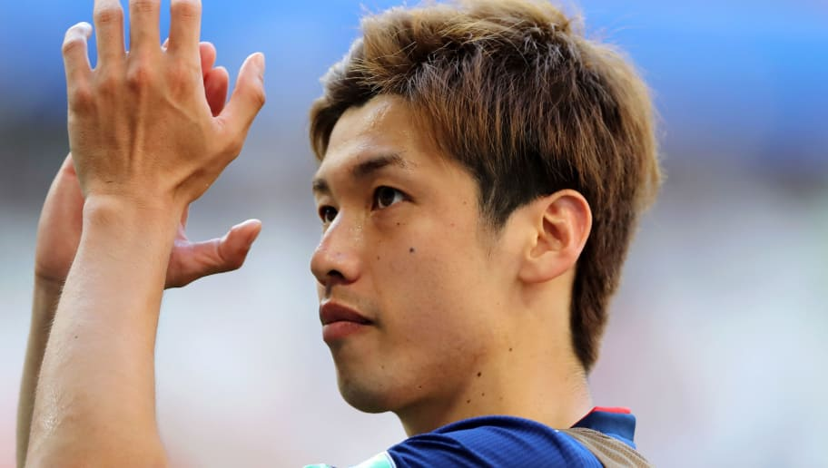 SARANSK, RUSSIA - JUNE 19:  Yuya Osako of Japan applauds fans following his sides victory in the 2018 FIFA World Cup Russia group H match between Colombia and Japan at Mordovia Arena on June 19, 2018 in Saransk, Russia.  (Photo by Elsa/Getty Images)