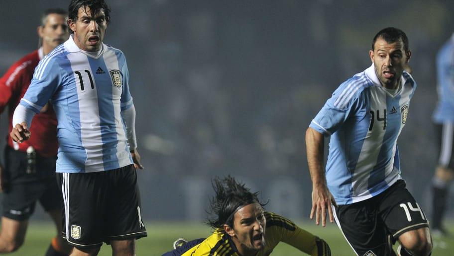 Colombian midfielder Abel Aguilar falls