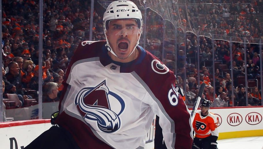 PHILADELPHIA, PA - NOVEMBER 04: Nail Yakupov #64 of the Colorado Avalanche celebrates his goal at 5:37 of the third period against the Philadelphia Flyers at the Wells Fargo Center on November 4, 2017 in Philadelphia, Pennsylvania. The Avalanche defeated the Flyers 5-4 in the shootout. (Photo by Bruce Bennett/Getty Images)