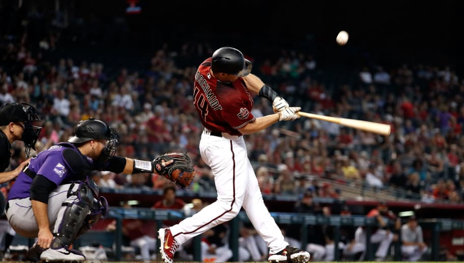 PHOENIX, AZ - SEPTEMBER 23: Paul Goldschmidt #44 of the Arizona Diamondbacks hits a foul ball during the bottom of the eighth inning against the Colorado Rockies at Chase Field on September 23, 2018 in Phoenix, Arizona. (Photo by Chris Coduto/Getty Images)