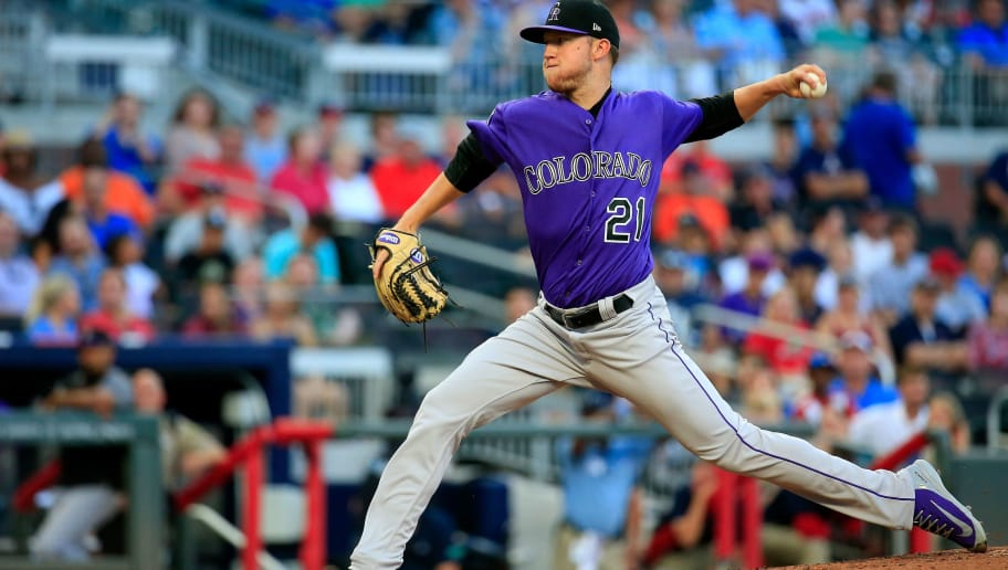 ATLANTA, GA - AUGUST 17: Kyle Freeland #21 of the Colorado Rockies pitches during the first inning against the Atlanta Braves at SunTrust Park on August 17, 2018 in Atlanta, Georgia. (Photo by Daniel Shirey/Getty Images)