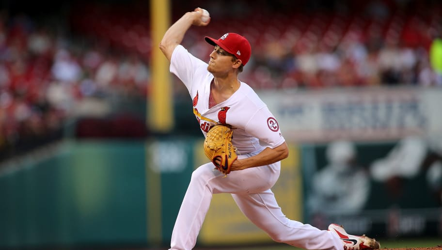 ST. LOUIS, MO - AUG 1: Luke Weaver #7 of the St. Louis Cardinals delivers during the first inning against the Colorado Rockies at Busch Stadium on August 1, 2018 in St. Louis, Missouri. (Photo by Scott Kane/Getty Images)