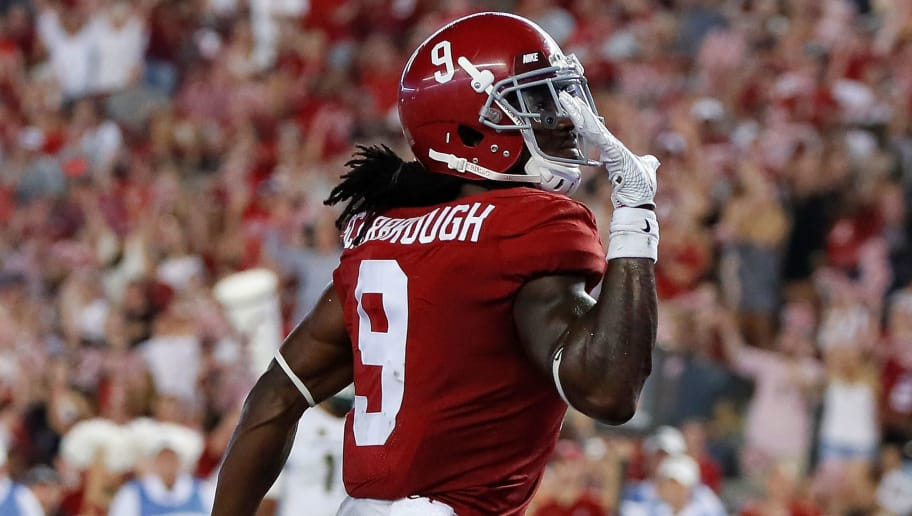 TUSCALOOSA, AL - SEPTEMBER 16:  Bo Scarbrough #9 of the Alabama Crimson Tide reacts after rushing for a touchdown past Josh Watson #55 of the Colorado State Rams at Bryant-Denny Stadium on September 16, 2017 in Tuscaloosa, Alabama.  (Photo by Kevin C. Cox/Getty Images)