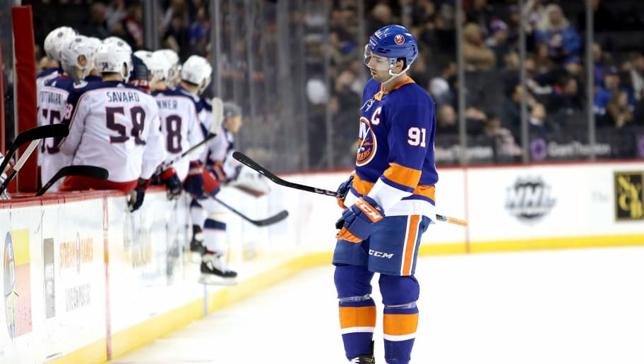 NEW YORK, NY - FEBRUARY 13: John Tavares #91 of the New York Islanders reacts in the second period against the Columbus Blue Jackets during their game at Barclays Center on February 13, 2018 in the Brooklyn borough of New York City.  (Photo by Abbie Parr/Getty Images)