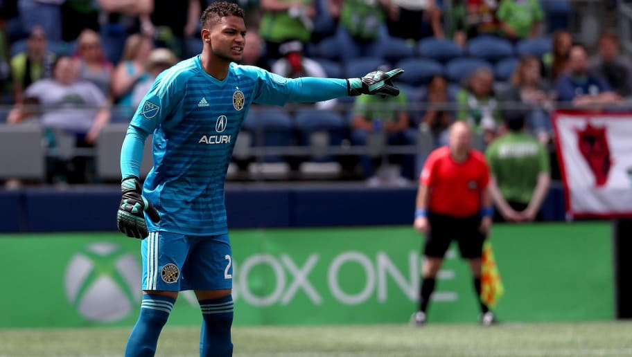 SEATTLE, WA - MAY 05:  Zack Steffen #23 of Columbus Crew signals down the field in the second half against the Seattle Sounders during their game at CenturyLink Field on May 5, 2018 in Seattle, Washington.  (Photo by Abbie Parr/Getty Images)