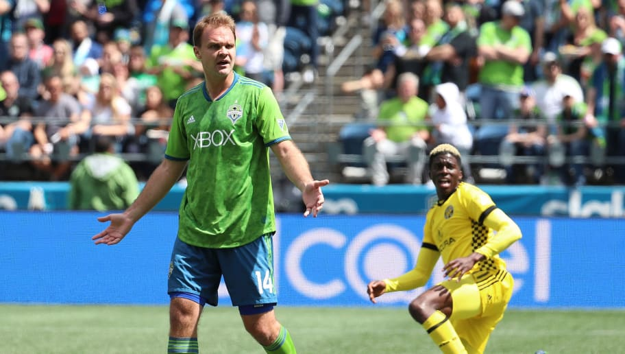 SEATTLE, WA - MAY 05: Chad Marshall #14 of Seattle Sounders reacts in the first half against the Columbus Crew during their game at CenturyLink Field on May 5, 2018 in Seattle, Washington.  (Photo by Abbie Parr/Getty Images)