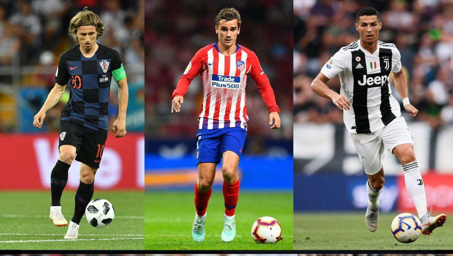 (COMBO) This combination of pictures created on December 01, 2018 shows (from top left) Croatia's midfielder Luka Modric during the Russia 2018 World Cup football match between Iceland and Croatia in Rostov-On-Don on June 26, 2018, Atletico Madrid's French forward Antoine Griezmann during the Spanish league football match Club Atletico de Madrid against SD Huesca at the Wanda Metropolitano stadium in Madrid on September 25, 2018, Juventus' Portuguese forward Cristiano Ronaldo during the Italian Serie A football match Juventus vs Lazio on August 25, 2018 at the Allianz Stadium in Turin, France's midfielder Kylian Mbappe during the friendly football match France vs Uruguay, on November 20, 2018 at the Stade de France in Saint-Denis, outside Paris, Real Madrid's French defender Raphael Varane during the Spanish league football match Real Madrid CF against Malaga CF on 25, November 2017 at the Santiago Bernabeu stadium in Madrid and   Liverpool's Egyptian midfielder Mohamed Salah during the English Premier League football match between Liverpool and Southampton at Anfield in Liverpool, north west England on September 22, 2018. The 2018 Ballon d'Or awards for men's and women's footballers of the year will be announced on December 3, 2018 as part of a ceremony in Paris. (Photo by AFP)        (Photo credit should read GABRIEL BOUYS,PAUL ELLIS,ANNE-CHRISTINE POUJOULAT,JOE KLAMAR,JAVIER SORIANO,MARCO BERTORELLO/AFP/Getty Images)