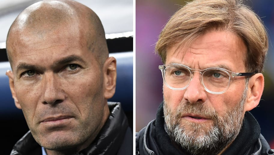 This combination of file pictures made on May 23, 2018, shows Real Madrid's French coach Zinedine Zidane (L) in Madrid on February 14, 2018, and Liverpool's German manager Jurgen Klopp in London on March 31, 2018. - Real Madrid CF and Liverpool FC will play the UEFA Champions League final football match in Kiev on May 26, 2018. (Photo by Gabriel BOUYS and Glyn KIRK / AFP)        (Photo credit should read GABRIEL BOUYS,GLYN KIRK/AFP/Getty Images)