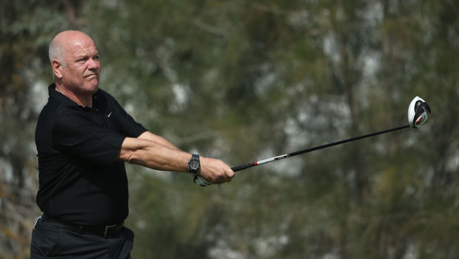 DOHA, QATAR - JANUARY 21:  Andy Gray, former international footballer and broadcaster, in action during the Pro Am prior to the start of the Commercial Bank Qatar Masters at Doha Golf Club on January 21, 2014 in Doha, Qatar.  (Photo by Andrew Redington/Getty Images)