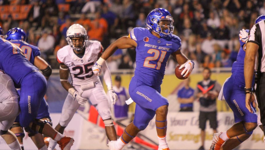 BOISE, ID - SEPTEMBER 8: Running back Andrew Van Buren #21 of the Boise State Broncos scores a touchdown during second half action against the Connecticut Huskies on September 8, 2018 at Albertsons Stadium in Boise, Idaho. Boise State won the game 62-7. (Photo by Loren Orr/Getty Images)