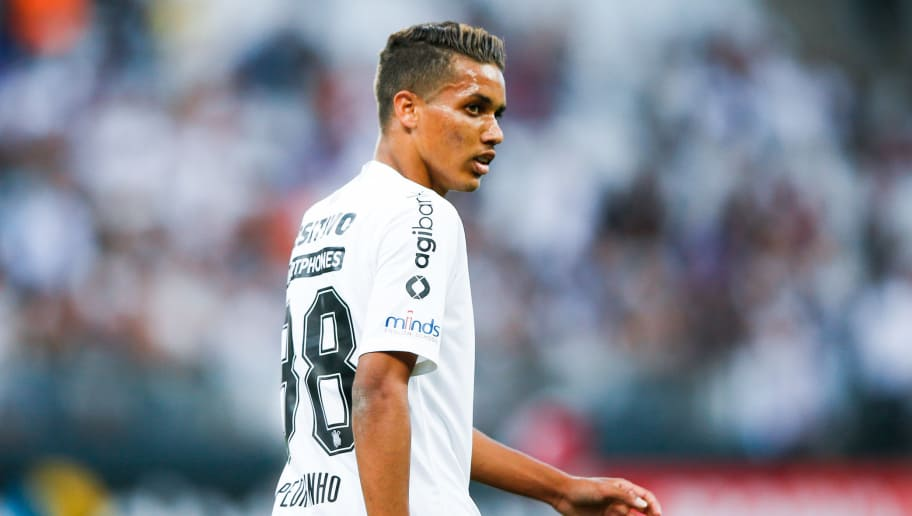 SAO PAULO, BRAZIL - SEPTEMBER 23: Pedrinho of Corinthians looks on during the match against Internacional for the Brasileirao 2018 at Arena Corinthians Stadium on September 23, 2018 in Sao Paulo, Brazil. (Photo by Alexandre Schneider/Getty Images)