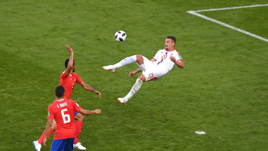 SAMARA, RUSSIA - JUNE 17:  Sergej Milinkovic-Savic of Serbia attempts an overhead kick on goal during the 2018 FIFA World Cup Russia group E match between Costa Rica and Serbia at Samara Arena on June 17, 2018 in Samara, Russia.  (Photo by Stu Forster/Getty Images)