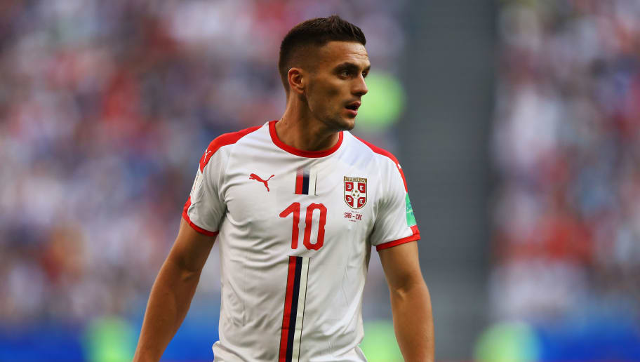 SAMARA, RUSSIA - JUNE 17:  Dusan Tadic of Serbia looks on during the 2018 FIFA World Cup Russia group E match between Costa Rica and Serbia at Samara Arena on June 17, 2018 in Samara, Russia.  (Photo by Dean Mouhtaropoulos/Getty Images)